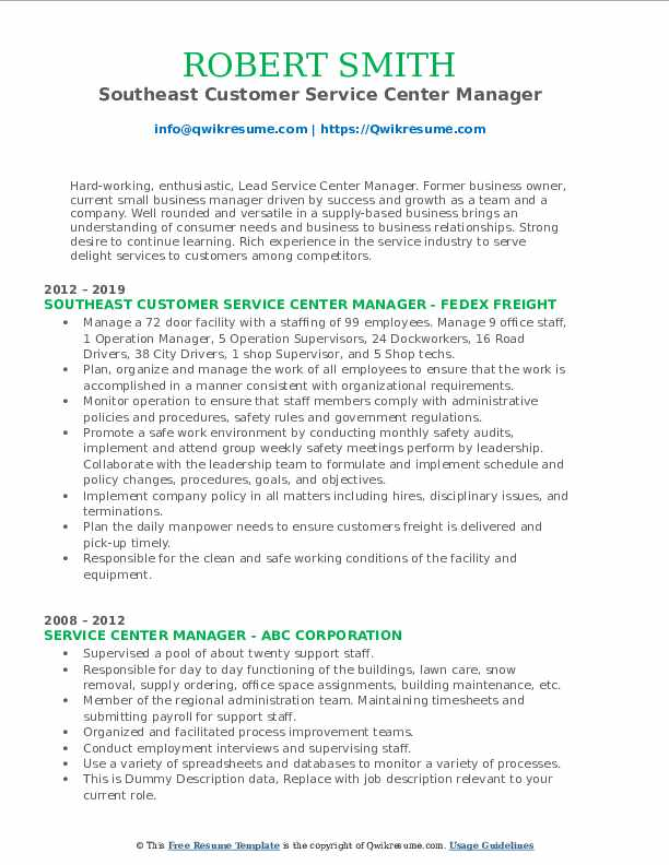 Southeast Customer Service Center Manager Resume Template