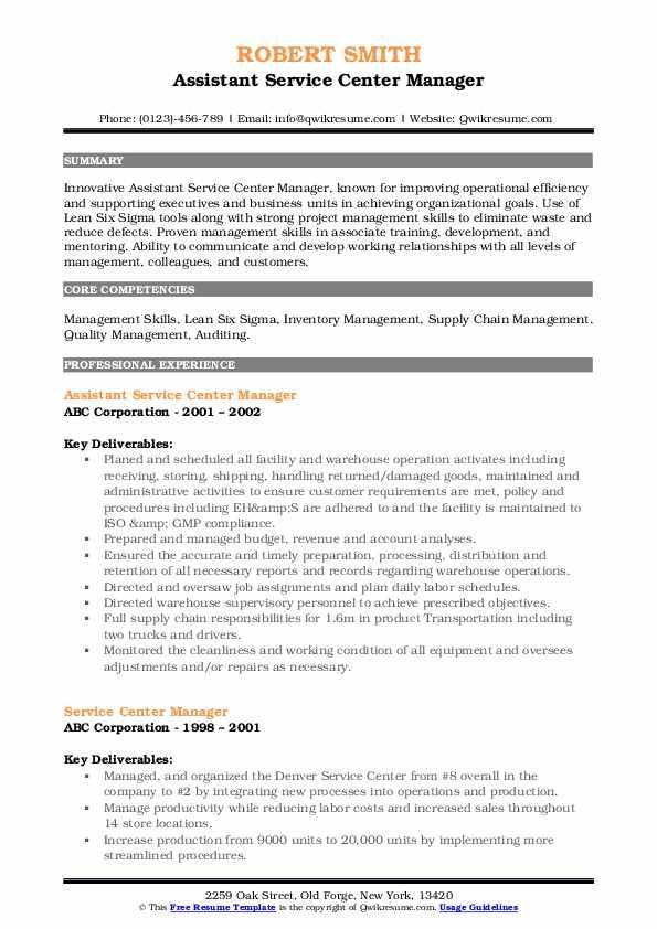 Assistant Service Center Manager Resume Format