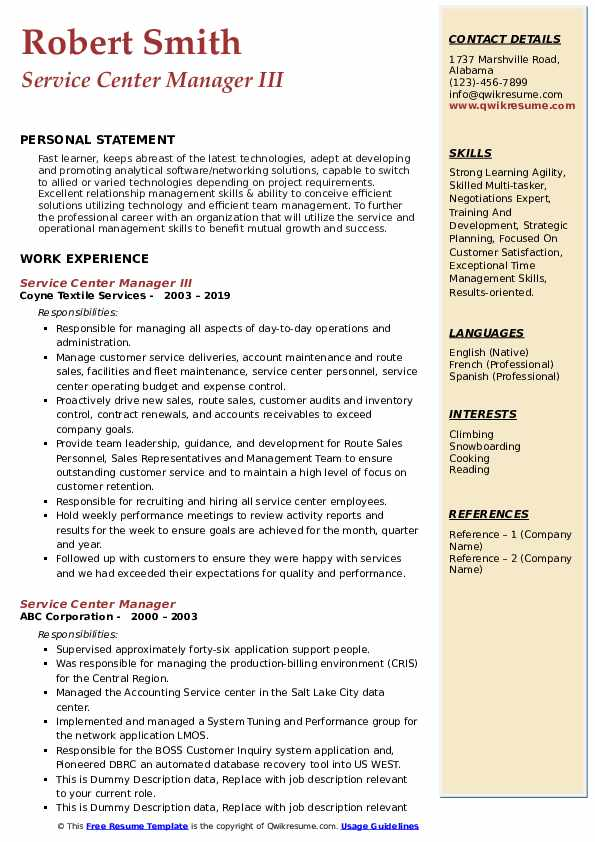 Service Center Manager III Resume Example