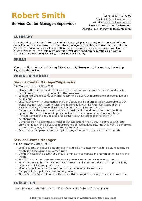 Service Center Manager/Supervisor Resume Template