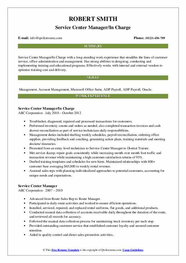 Service Center Manager/In Charge Resume Example