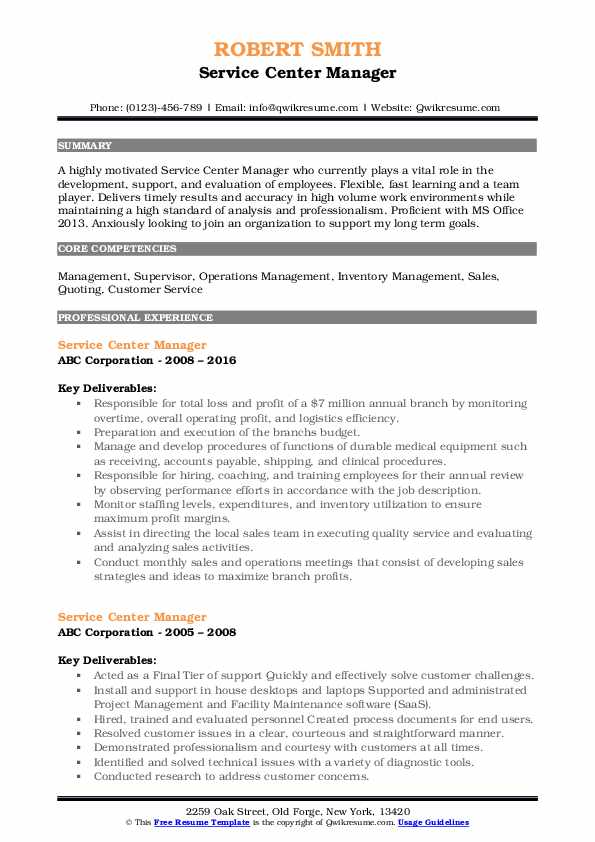 Service Center Manager Resume Template