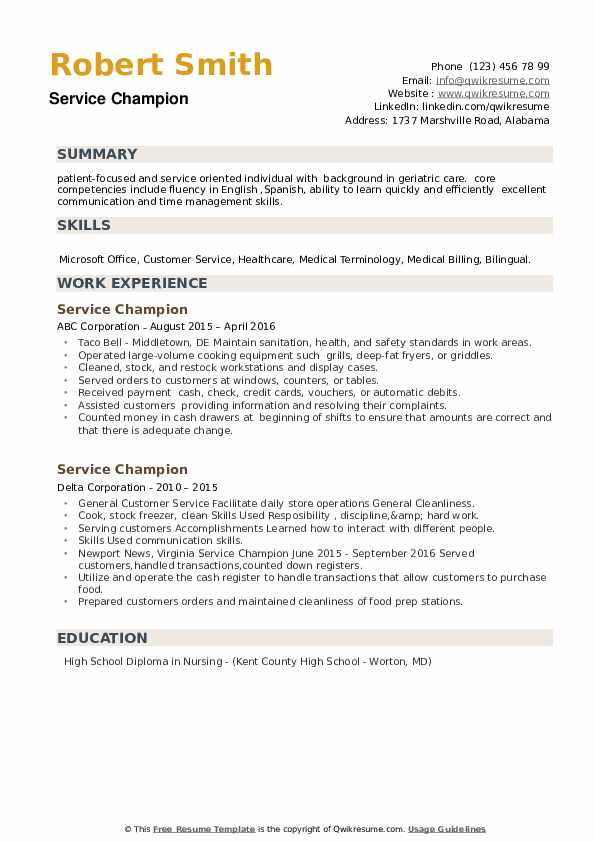 Service Champion Resume example