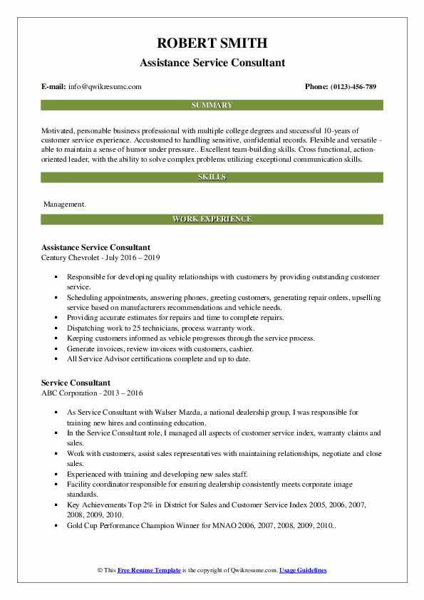 Assistance Service Consultant Resume Sample
