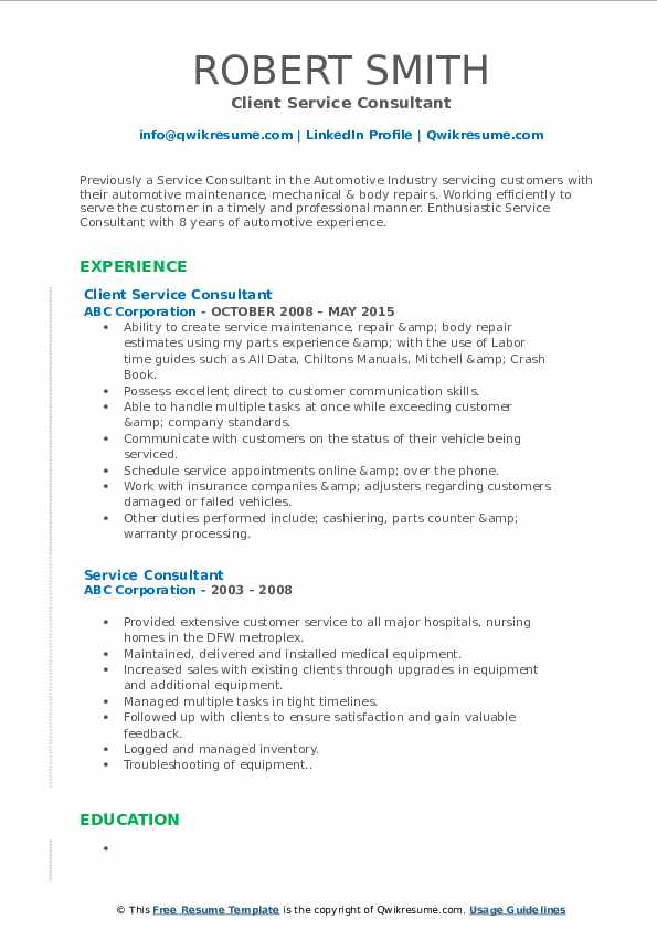 Client Service Consultant Resume Format