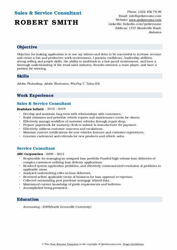Sales & Service Consultant Resume Model