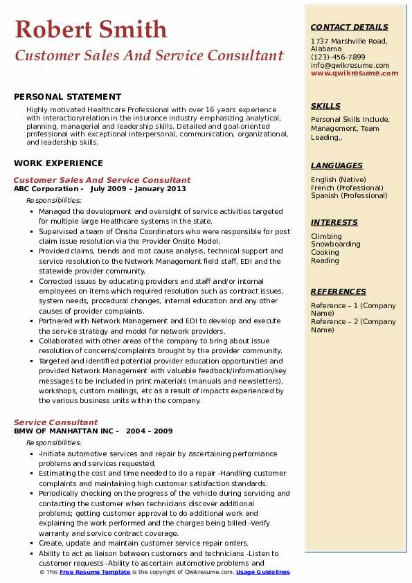 Customer Sales And Service Consultant Resume Model