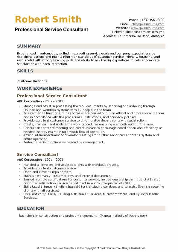 Professional Service Consultant Resume Example