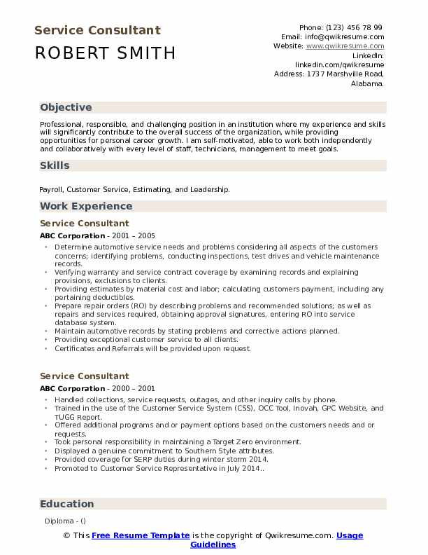 Service Consultant Resume example
