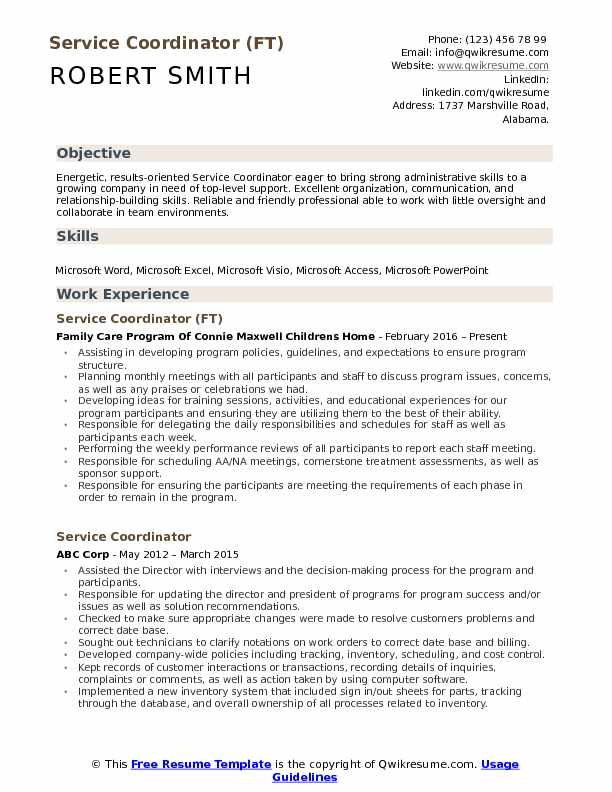 Service Coordinator (FT) Resume Example