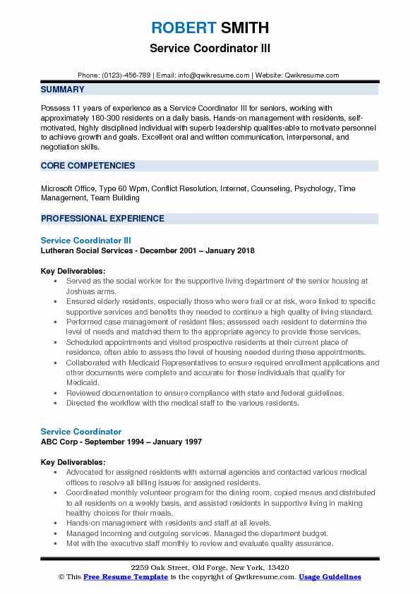 Service Coordinator III Resume Model