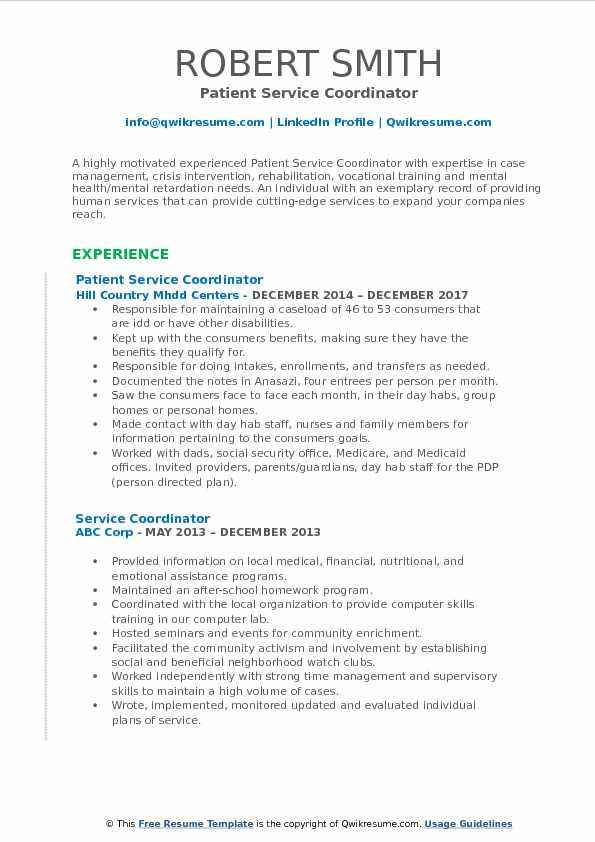 Service Coordinator Resume Samples | QwikResume
