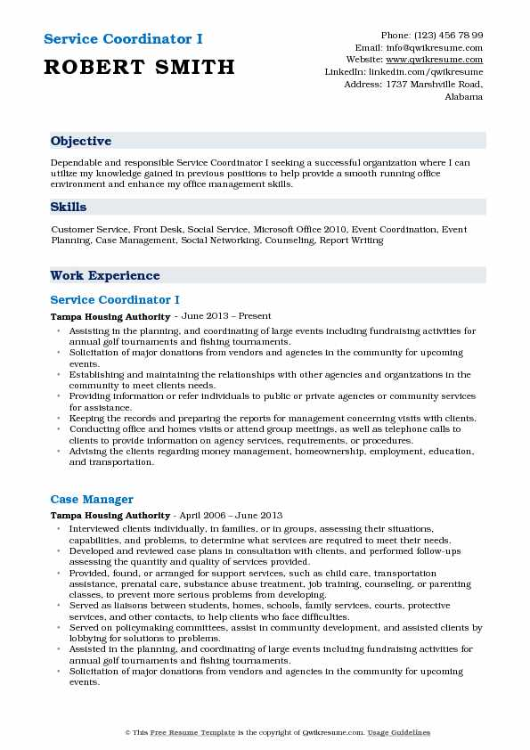 Service Coordinator I Resume Sample