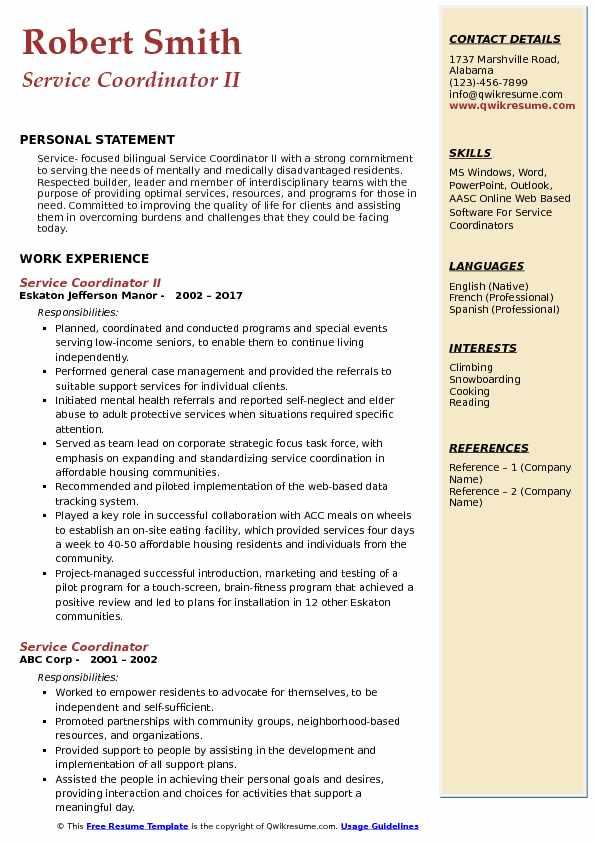 Service Coordinator II Resume Example