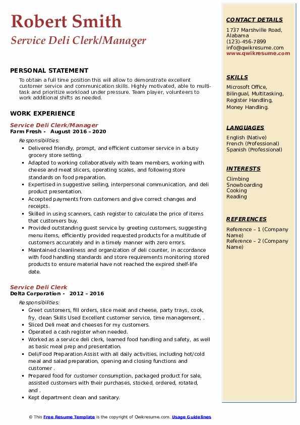 Service Deli Clerk Resume Samples Qwikresume