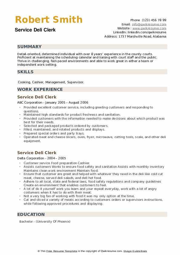 Service Deli Clerk Resume example