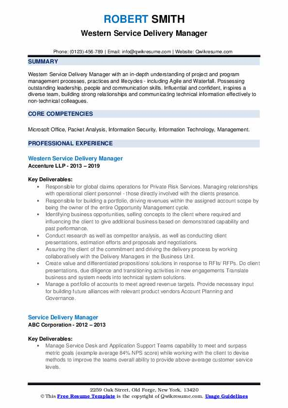 Western Service Delivery Manager Resume Format