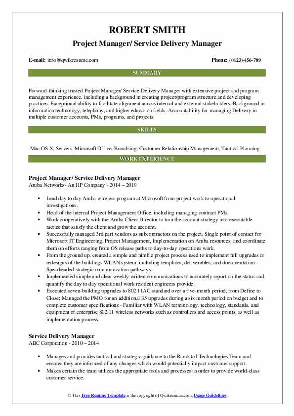 Project Manager/ Service Delivery Manager Resume Sample