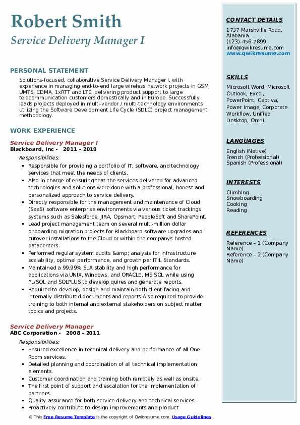 Service Delivery Manager I Resume Template