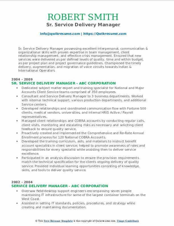 Sr. Service Delivery Manager Resume Sample