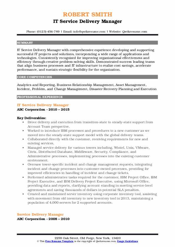 IT Service Delivery Manager Resume Example