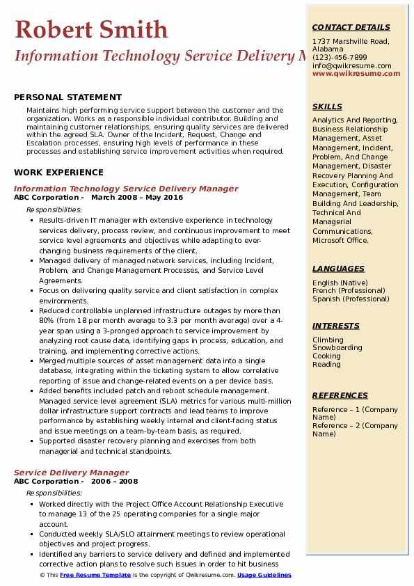 Information Technology Service Delivery Manager Resume Model