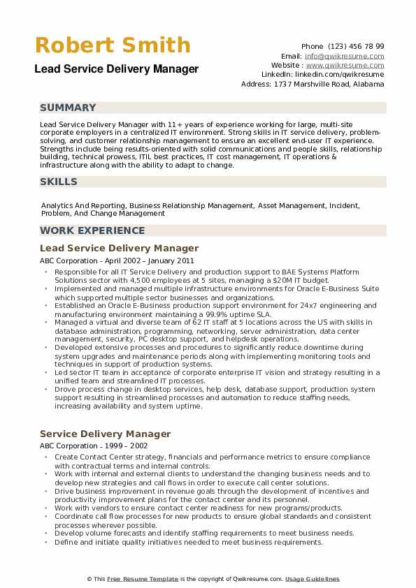 Lead Service Delivery Manager Resume Model