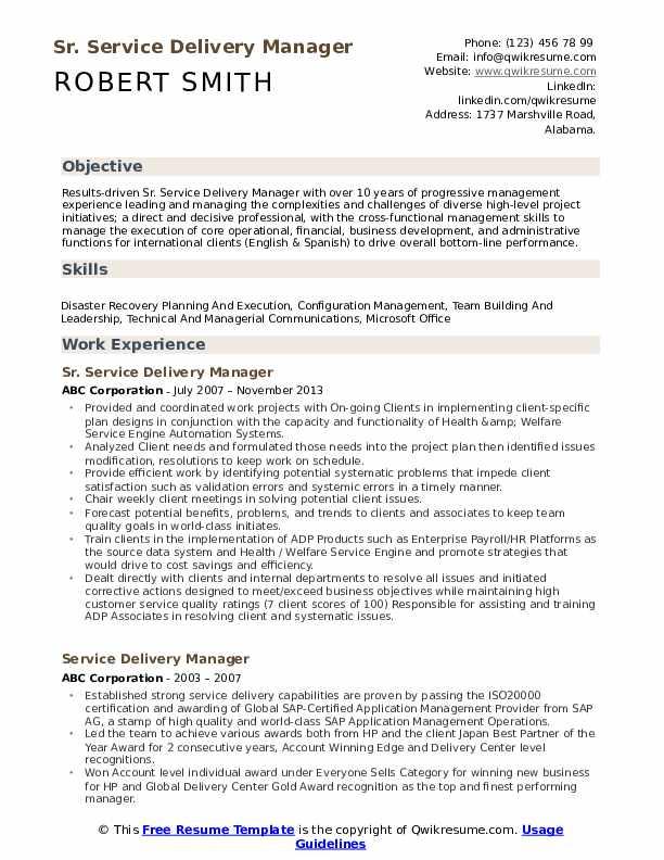 Sr. Service Delivery Manager Resume Model