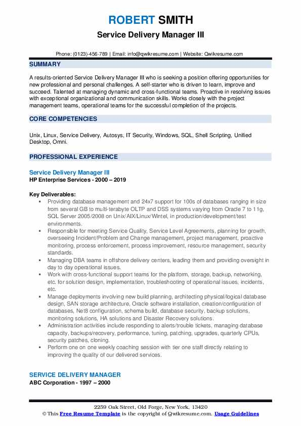 Service Delivery Manager III Resume Example