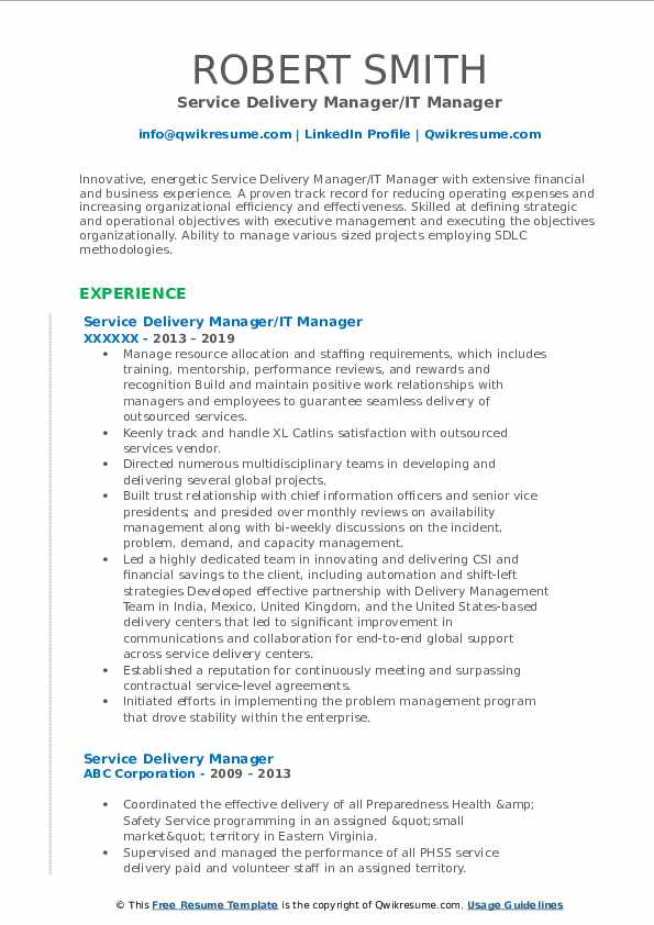 Service Delivery Manager/IT Manager Resume Template