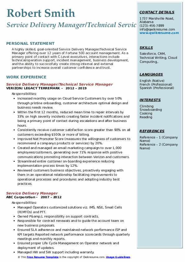 Service Delivery Manager/Technical Service Manager Resume Sample