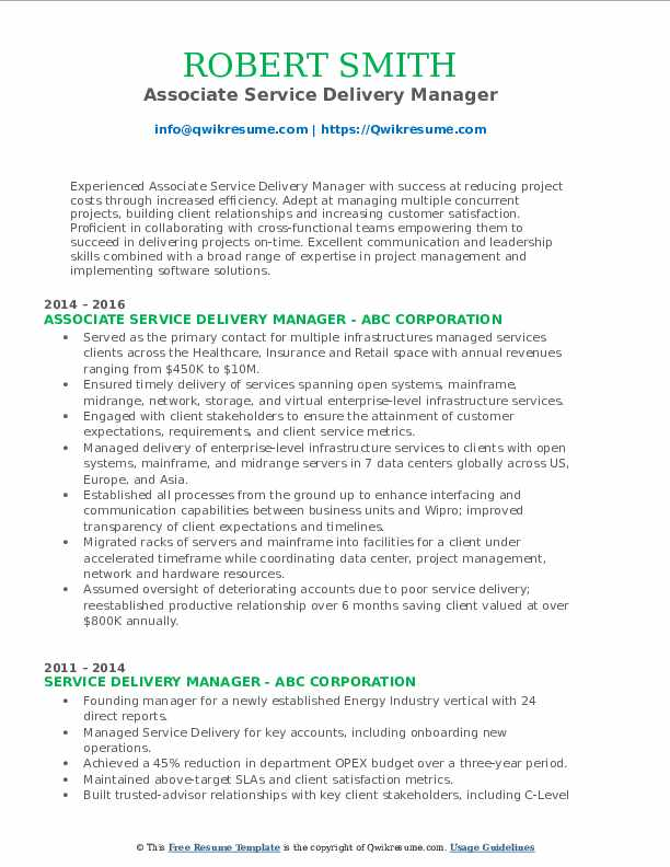 Associate Service Delivery Manager Resume Format