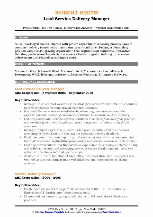Lead Service Delivery Manager Resume Format