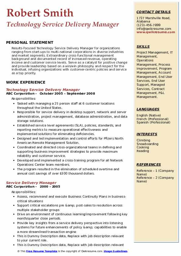 Technology Service Delivery Manager Resume Model