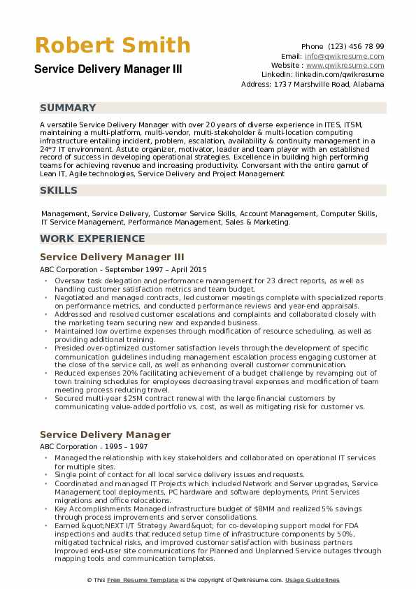 Service Delivery Manager Resume example