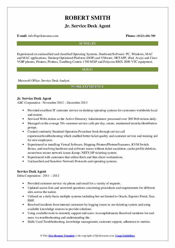 service desk agent resume samples  qwikresume