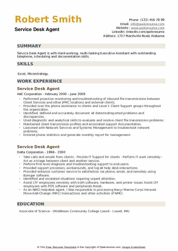 Service Desk Agent Resume example