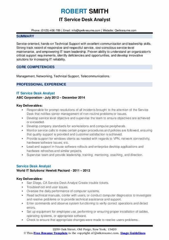 IT Service Desk Analyst Resume Template