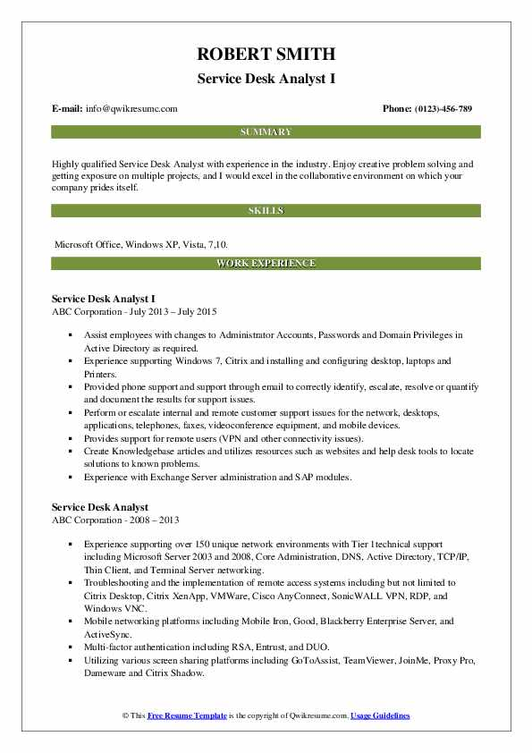 Service Desk Analyst I Resume Model