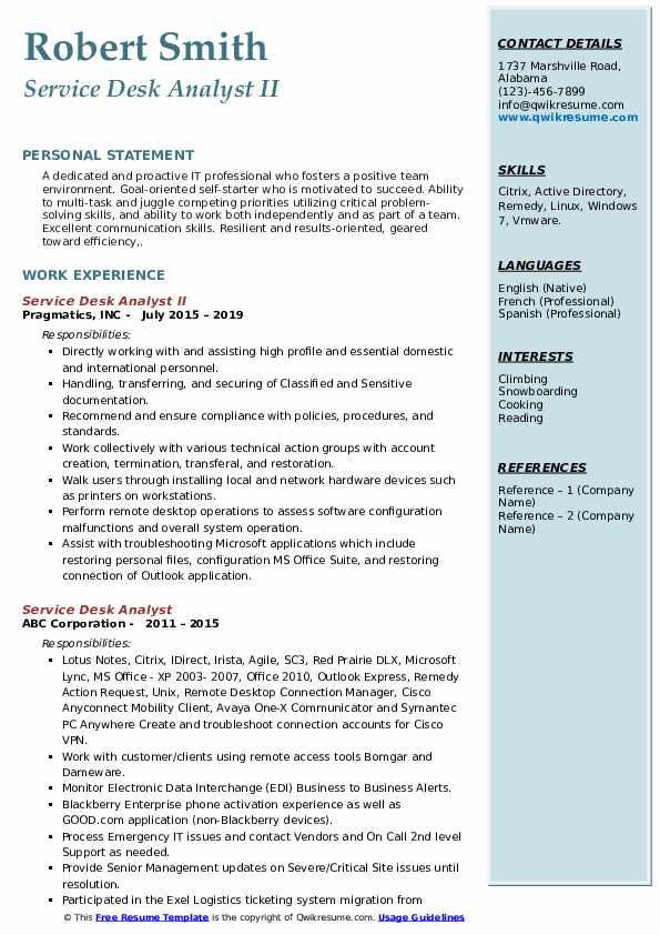 Service Desk Analyst II Resume Template