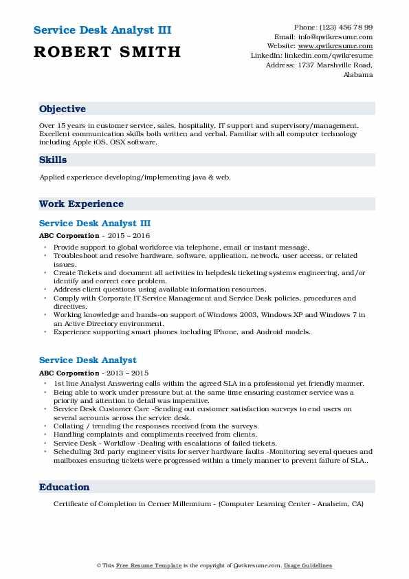 Service Desk Analyst III Resume Template