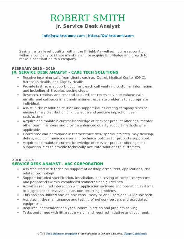 Jr. Service Desk Analyst Resume Format