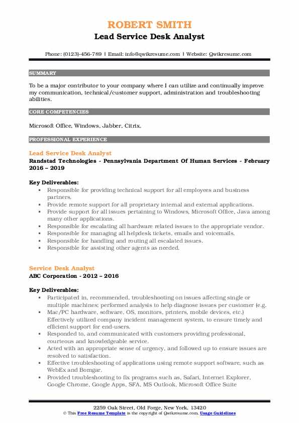 service desk analyst resume samples