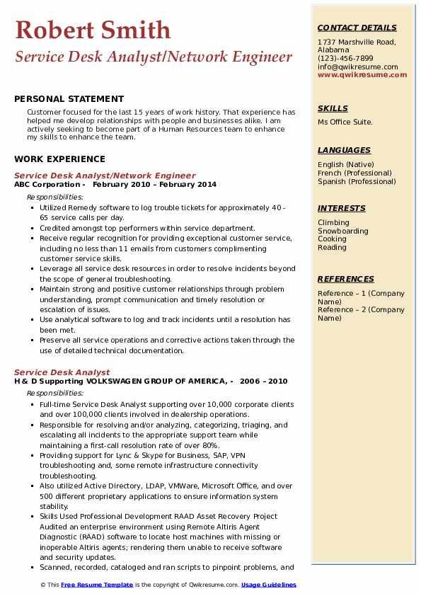 Service Desk Analyst/Network Engineer Resume Example