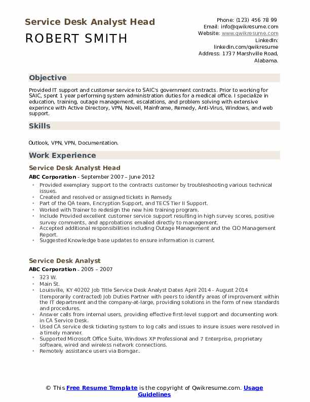 Service Desk Analyst Head Resume Sample
