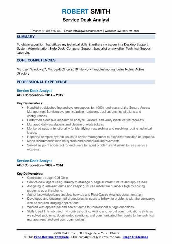 Service Desk Analyst Resume Samples | QwikResume
