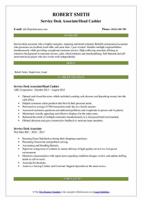 Service Desk Associate/Head Cashier Resume Template