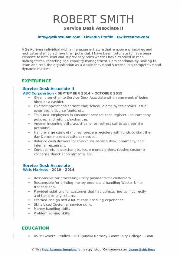 Service Desk Associate II Resume Sample
