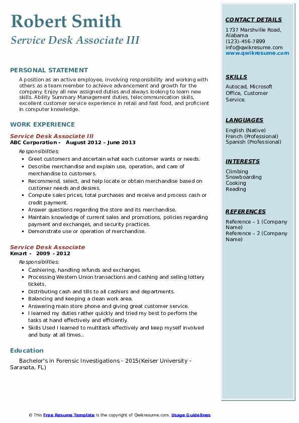 Service Desk Associate III Resume Format