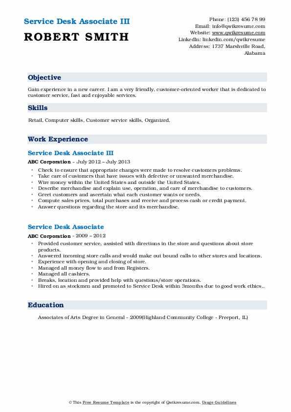 Service Desk Associate III Resume Template